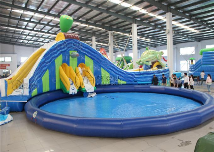 lotus and frog water slide largest inflatable water slide with round swimming pool 1