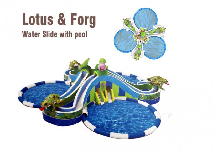 lotus and frog water slide largest inflatable water slide with round swimming pool 0