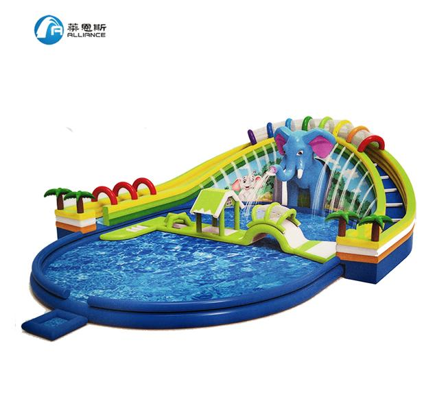 New style elephant water paradise water park inflatable water slide 0