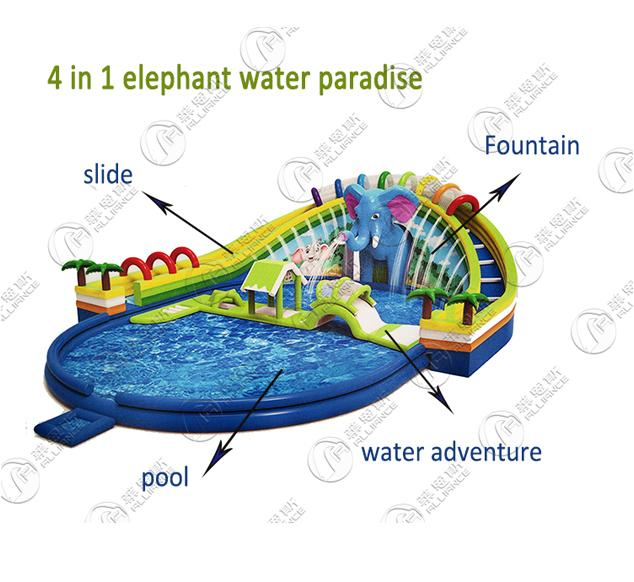 New style elephant water paradise water park inflatable water slide 1