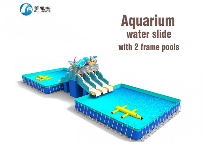 Gurgling Aquarium Commercial Inflatable Water Slides Kids Blow Up Water Slide 0