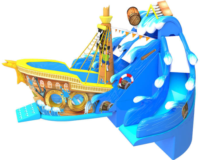 Large Size Commercial Inflatable Water Slides , Bouncy Pirate Ship Water Slide supplier