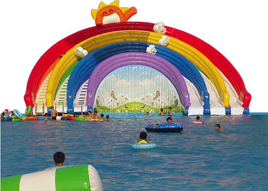 Rainbow inflatable water slide with pool multiplay gaint water slide inflatable