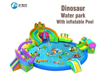 dinosaur kingdom giant inflatable water park slide with pool